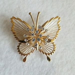 RHINESTONE Filigree BUTTERFLY brooch pin